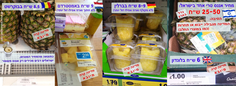 מחיר האננס למשל ליוקר המחייה בישראל